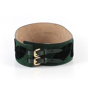 BURBERRY Green Velvet Leather Waist Belt Sz 26*